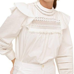 J. Crew Crocheted lace ruffle top in ivory